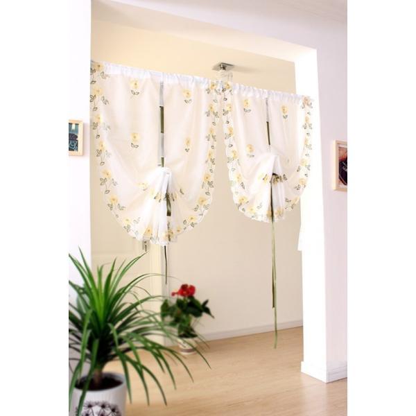 -送料無料 カフェカーテン バルーンシェード 横85×縦145cm リボンで調節 イエロー薔薇柄  |rose-viva-shop|05