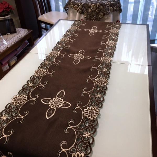 テーブルランナー 40×200cm  カットワーク刺繍 ブラウン|rose-viva-shop|02