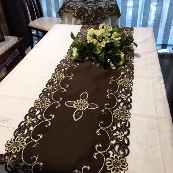テーブルランナー 40×200cm  カットワーク刺繍 ブラウン|rose-viva-shop|03