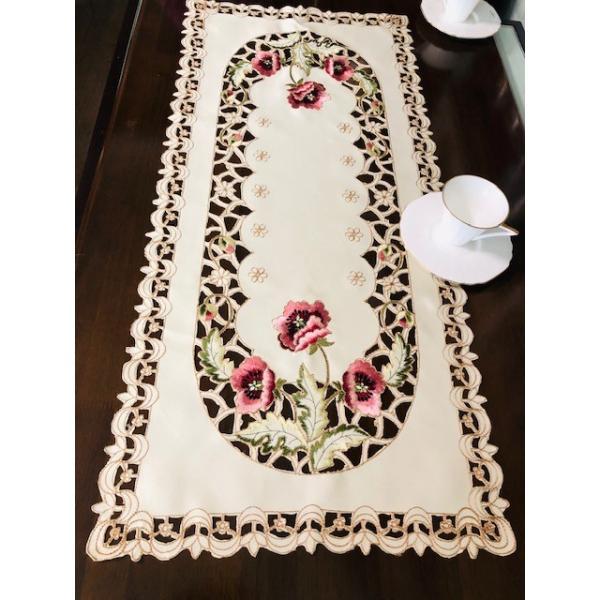 カーネーショ柄刺繍 40X80cm テーブルセンター #299|rose-viva-shop