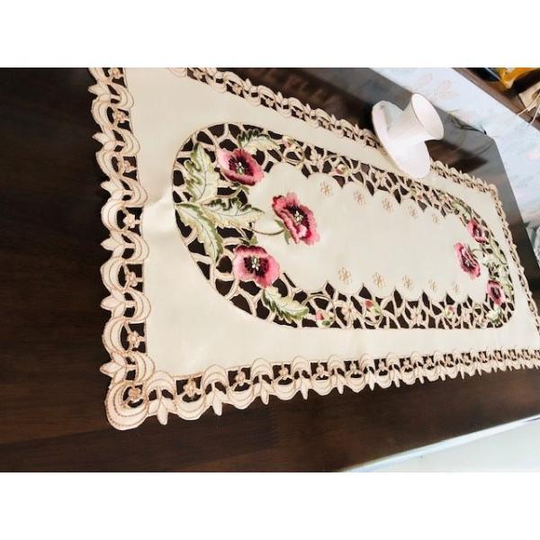 カーネーショ柄刺繍 40X80cm テーブルセンター #299|rose-viva-shop|03