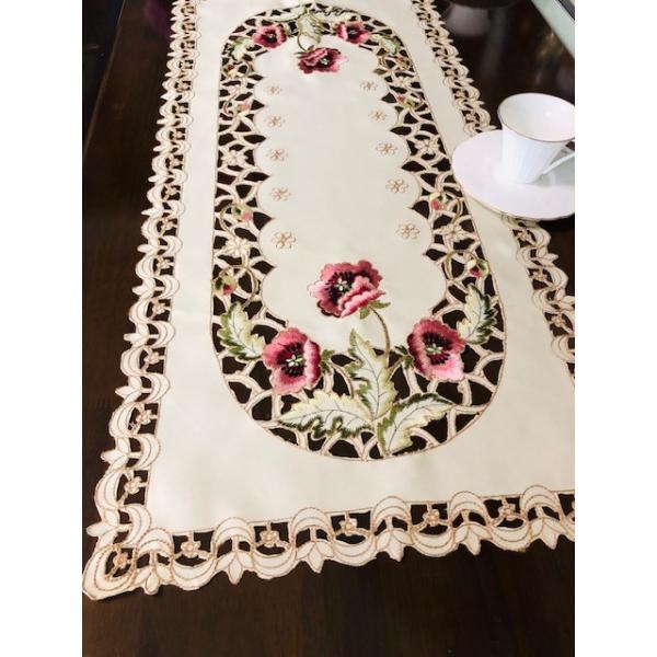 カーネーショ柄刺繍 40X80cm テーブルセンター #299|rose-viva-shop|04