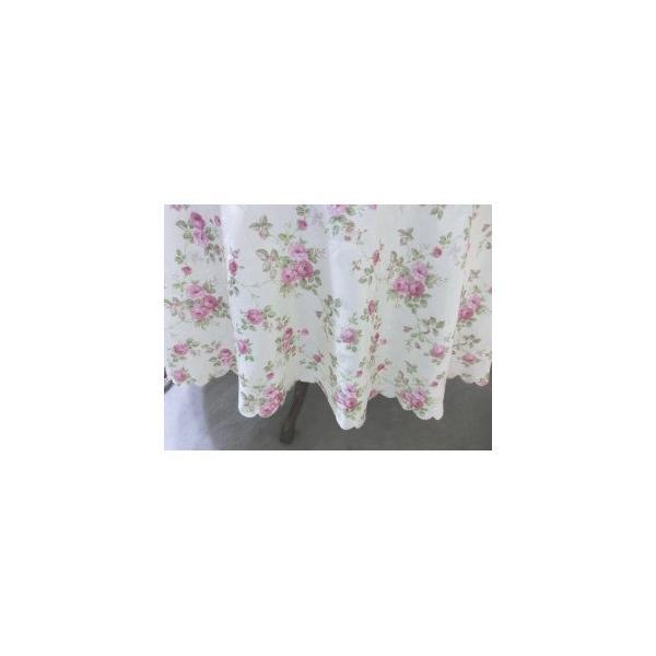 テーブルクロス撥水おしゃれローズ薔薇姫系丸円形150cm