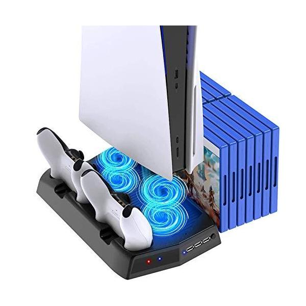 最新 PS5縦置きスタンドコントローラー充電器2台同時充電ゲームソフト収納ケース本体冷却ファン付き6in1多