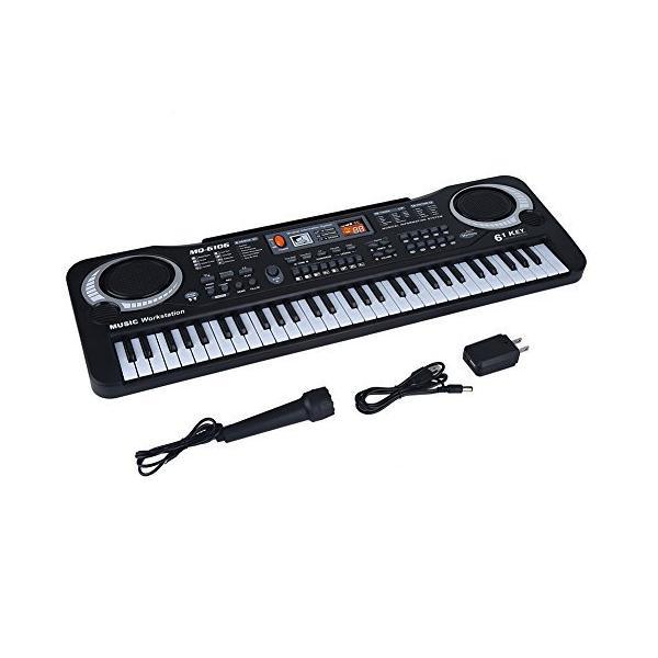 61キーデジタルピアノ電子ピアノマイク付き電源アダプター付き録音機能