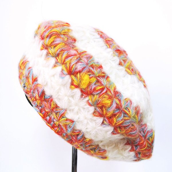 送料無料 モヘア&ウールベレー帽 カラフルベレー帽 毛糸編み帽子 毛糸帽子 ニット帽