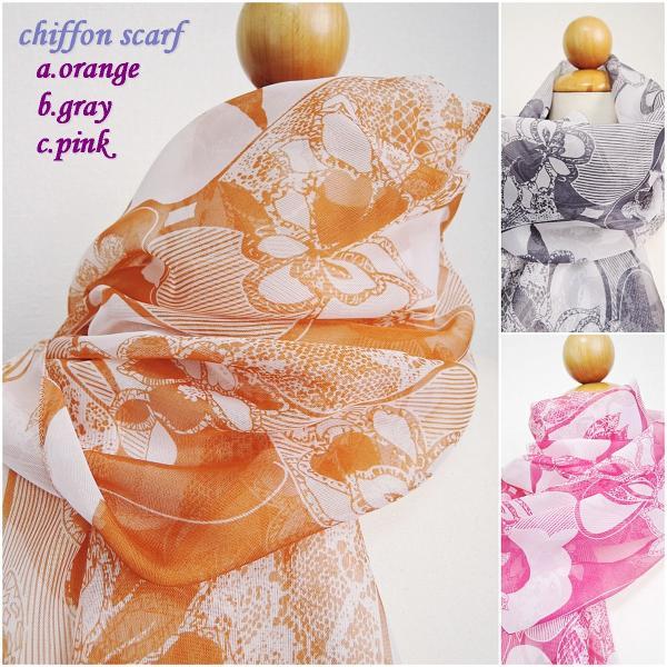 レディースストールスカーフシフォンストール花柄オレンジピンクグレー