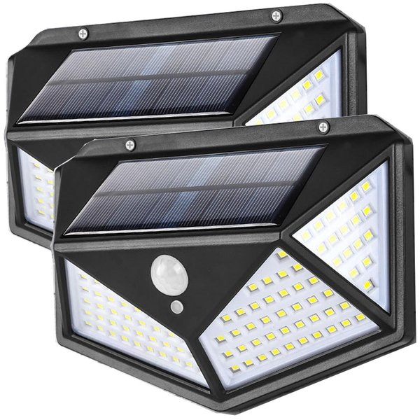 100LED ソーラーライト 4面採光 センサーライト 2個セット 屋外照明 自動点灯 太陽光発電 外灯 玄関 / 駐車場 取付簡単 防水 防犯ライト 送料無料