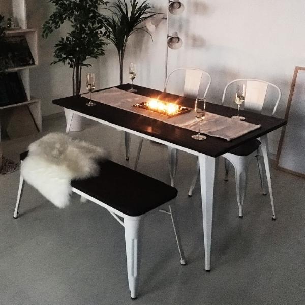 ヴィンテージ ダイニングテーブル ダイニングセット 4点セット 4人掛け 幅140cm 天然木×スチール madoi(マドイ) ホワイト 食卓 カフェ風 ブルックリン 木製|royal3000|02