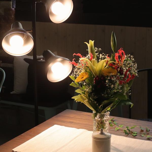 フロアライト スタンドライト おしゃれ 調光 調色 ができる LED電球 3個と専用リモコン付き 3灯 honoka | スポットライト フロアスタンド 間接照明 ルームライト|royal3000|02