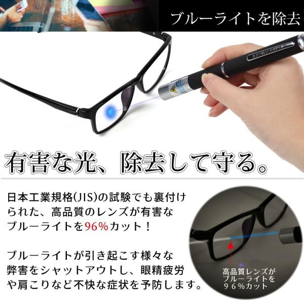 JIS検査済 PC眼鏡 ブルーライト 96% カット メガネ 眼鏡 度なし メンズ レディース パソコン用メガネ メガネ拭き ケース セット 送料無料|rozaliss|02