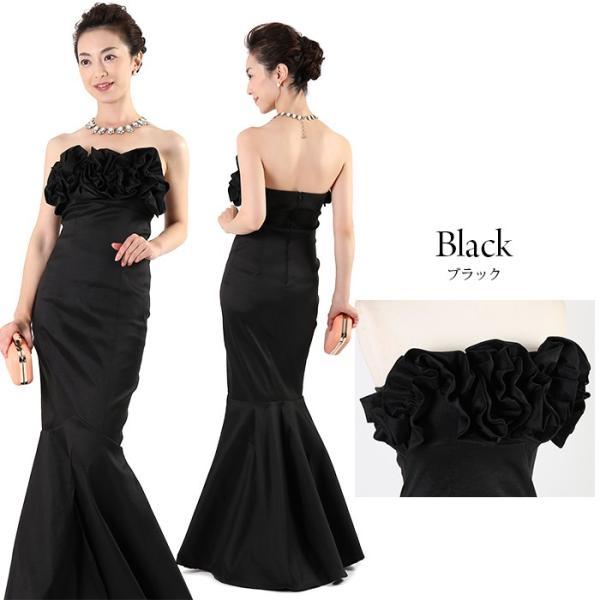 ロングドレス 演奏会 結婚式 パーティー ドレス ステージ お呼ばれ 20代 30代 40代 カラードレス ブラック ローズ ラッフル マーメイドストレッチ FD-050027|rs-gown|04