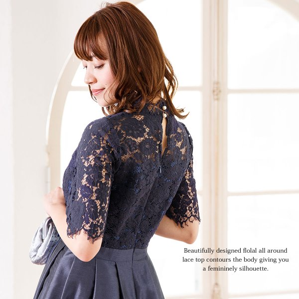 ドレス お呼ばれ 結婚式 ワンピース 袖あり 成人式 二次会 パーティ 大きいサイズ ブラック ひざ丈 ミモレ レース 20代 30代 40代 セール FD-052136|rs-gown|06