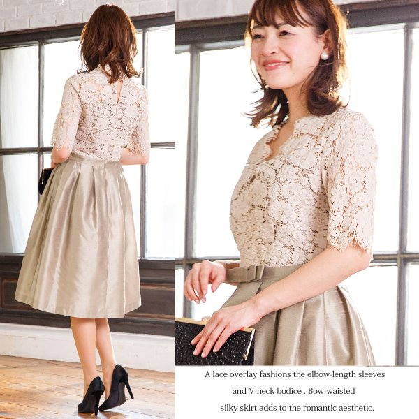 ドレス お呼ばれ 結婚式 ワンピース 袖あり 成人式 二次会 パーティ 大きいサイズ ブラック ひざ丈 ミモレ レース 20代 30代 40代 セール FD-052136|rs-gown|09