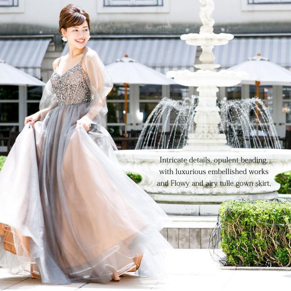 ロングドレス 演奏会 ステージ 声楽 Aライン プリンセス パーティー ベージュ チュール 大きいサイズ フォーマル FD-080268|rs-gown|09