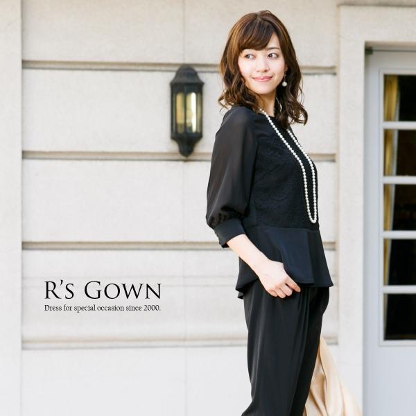 パンツドレス 結婚式  お呼ばれ セットアップ パンツドレス 体型カバー 袖有り 長袖 七分袖 黒 水色 ネイビー 20代 30代 40代 FD-1972297|rs-gown|18