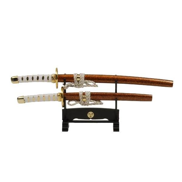 刀剣型ペーパーナイフ ミニ日本刀 金茶大小揃・掛台付 3000