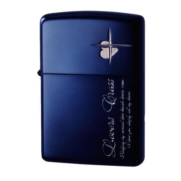 ★ ZIPPO(ジッポー) オイルライター ラバーズ・クロス メッセージSIDE ブルー&銀ミラー 63050398