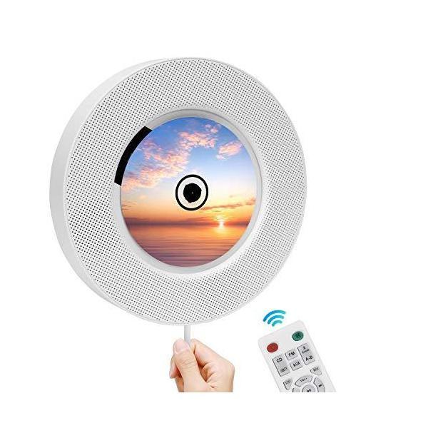 2020最新版 CDプレーヤーRanipobo置き&壁掛け式プレーヤーbluetoothスピーカー円型CDplayerBlue