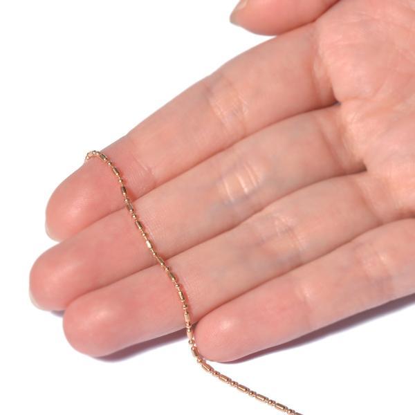 ネックレス チェーン 18金 ピンクゴールド 変形ボールBRチェーン 幅1.2mm 長さ80cm|鎖 K18PG 18k 貴金属 ジュエリー レディース メンズ