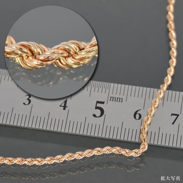 アンクレット チェーン 18金 ピンクゴールド パイプロープチェーン 幅2.0mm 長さ24cm 鎖 K18PG 18k 貴金属 ジュエリー レディース メンズ