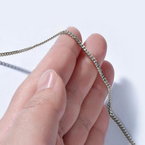ネックレス チェーン 18金 ホワイトゴールド 2面カット喜平チェーン 幅2.3mm 長さ38cm|鎖 K18WG 18k 貴金属 ジュエリー レディース メンズ