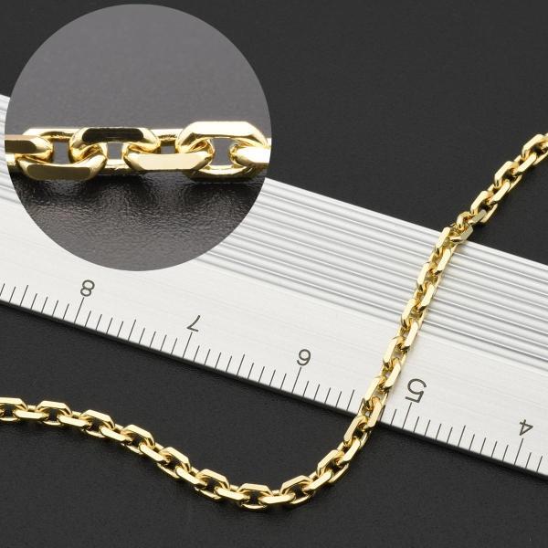 ネックレス チェーン 18金 イエローゴールド 4面カット小豆チェーン 幅2.5mm 長さ70cm 鎖 K18YG 18k 貴金属 ジュエリー レディース メンズ