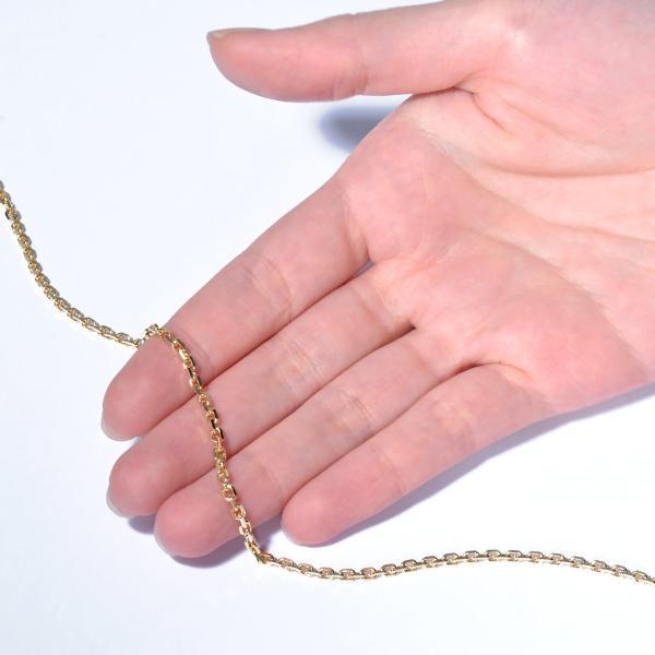 ネックレス チェーン 18金 イエローゴールド 4面カット小豆チェーン 幅2.5mm 長さ70cm|鎖 K18YG 18k 貴金属 ジュエリー レディース メンズ