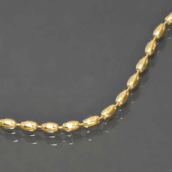 ブレスレット チェーン 18金 イエローゴールド オーバル型ボールチェーン 幅2.3mm 長さ19cm|鎖 K18YG 18k 貴金属 ジュエリー レディース メンズ