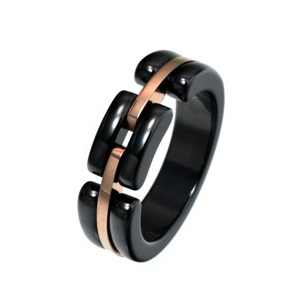 指輪 セラミック サージカルステンレス 2種類の素材で作られたデザインリング 幅6.5mm 黒 ブラック ピンクゴールド Ceramic レディース メンズ
