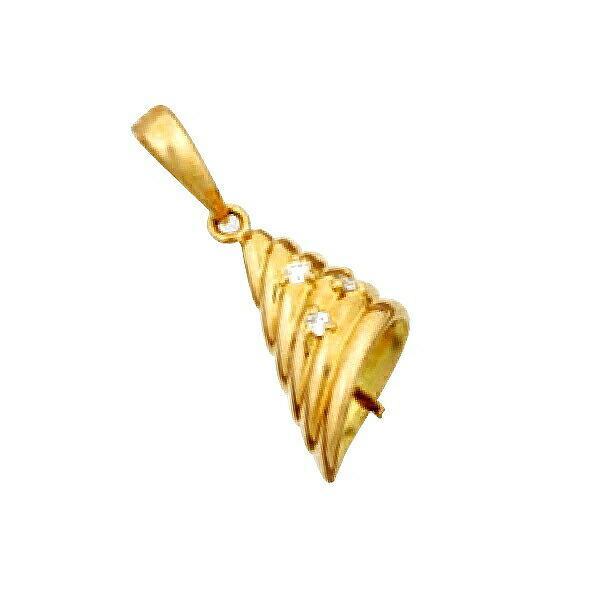 【1個売り】 真珠用パーツ 18金 イエローゴールド 段付きデザインペンダントトップパーツ 笠タイプ 9.5mmから10.5mm玉用 0.03ctのダイヤモンド付き|貴金属