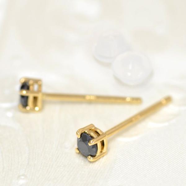 【バラ売り/1個】 ピアス 18金 イエローゴールド 天然石 ブラックダイヤモンドのスタッドピアス 直径3.0mm|パワーストーン 貴金属 レディース メンズ