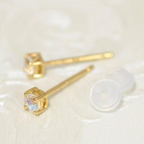 【バラ売り/1個】 ピアス 18金 イエローゴールド 天然石 ブルームーンストーンのスタッドピアス 直径3.0mm|パワーストーン 貴金属 レディース メンズ