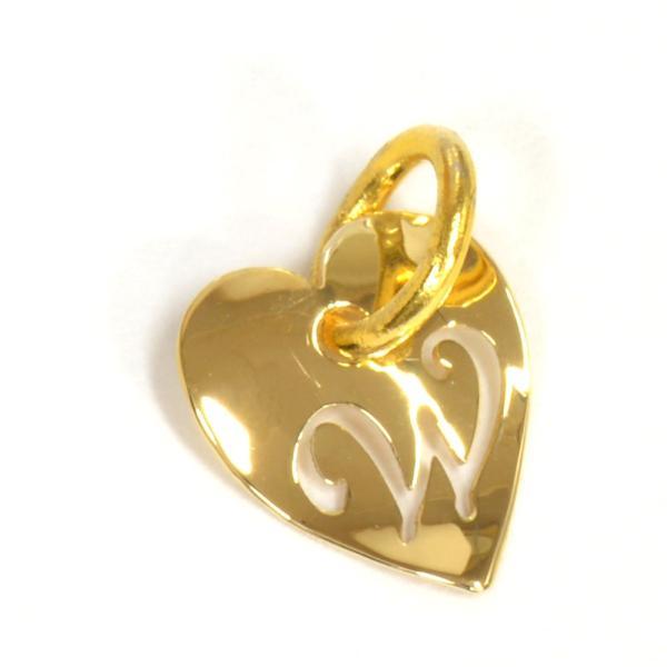 ペンダントトップ 18金 イエローゴールド W ハート型イニシャルのペンダント ペンダントヘッドのみ アルファベット 文字 貴金属 ジュエリー レディース