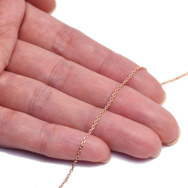 ネックレス チェーン 18金 ピンクゴールド 4面カット小豆チェーン 幅1.2mm 長さ70cm|鎖 K18PG 18k 貴金属 ジュエリー レディース メンズ