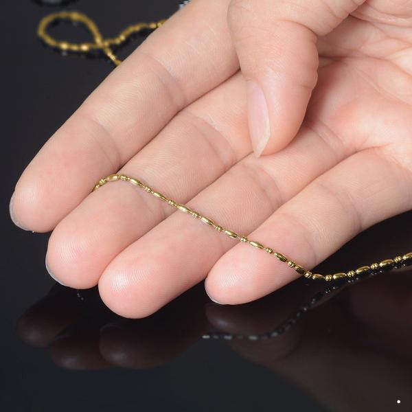 ネックレス チェーン サージカルステンレス 316L 金色 そろばんライスチェーン 幅1.5mm 長さ70cm|鎖 ステンレス アクセサリー レディース メンズ
