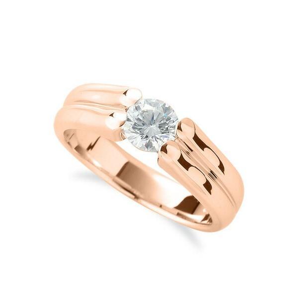 指輪 18金 ピンクゴールド 天然石 ダブルラインの一粒リング 主石の直径約3.8mm ソリティア 四本爪留め K18PG 18k 貴金属 ジュエリー レディース メンズ