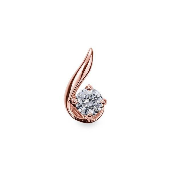 ペンダントトップ 18金 ピンクゴールド 天然石 ウェーブラインの一粒ペンダント 主石の直径約4.4mm 四本爪留め ペンダントヘッドのみ K18PG 18k 貴金属