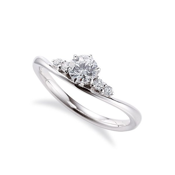 指輪 18金 ホワイトゴールド 天然石 サイドストーンリング 主石の直径約4.4mm V字 六本爪留め K18WG 18k 貴金属 ジュエリー レディース メンズ