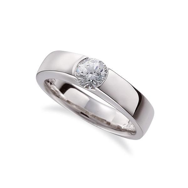 指輪 18金 ホワイトゴールド 天然石 一粒リング 主石の直径約5.2mm ソリティア 平打ち レール留め K18WG 18k 貴金属 ジュエリー レディース メンズ