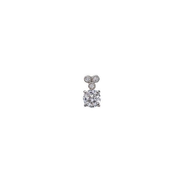 ペンダントトップ PT900 プラチナ 天然石 メレ周りミル打ちの一粒ペンダント 主石の直径約4.4mm 四本爪留め ペンダントヘッドのみ|900pt 貴金属 ジュエリー