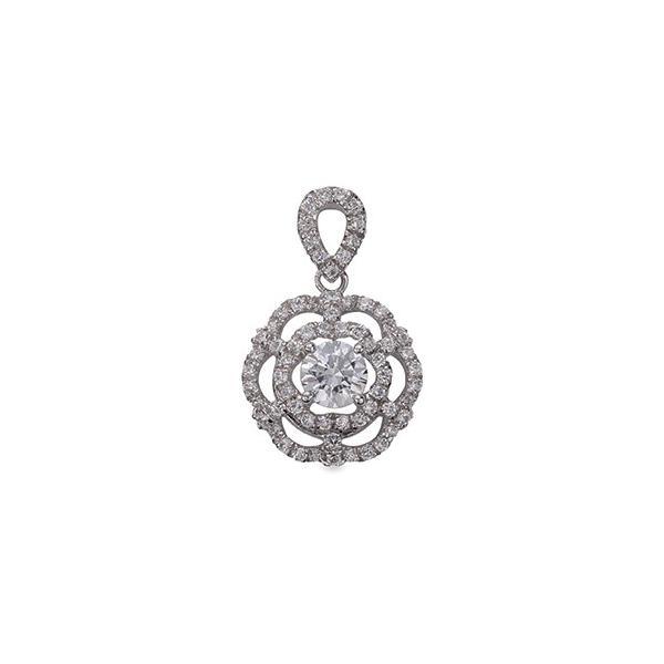 ペンダントトップ PT900 プラチナ 天然石 花モチーフの透かし取り巻きペンダント 主石の直径約4.4mm 四本爪留め ペンダントヘッドのみ|900pt 貴金属 ジュエリー