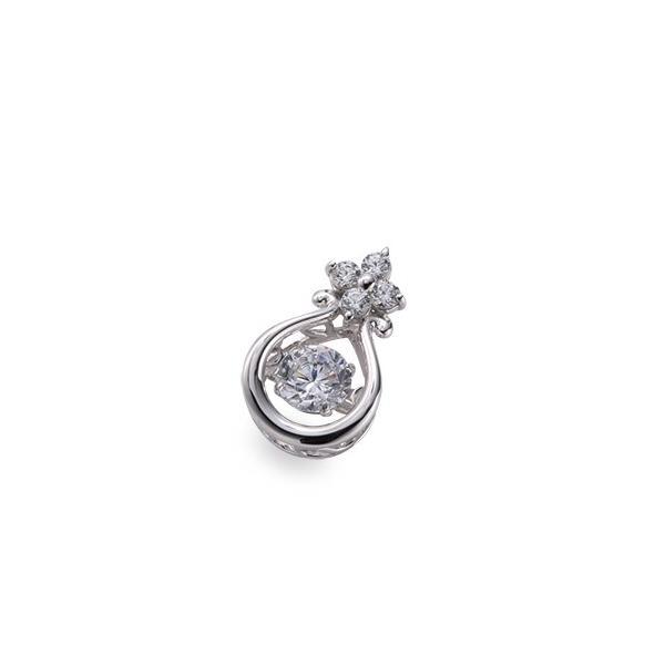 ペンダントトップ PT900 プラチナ 天然石 主石が揺れる花モチーフのメレ付きペンダント 主石の直径約4.4mm ダンシングストーン ペンダントヘッドのみ|900pt