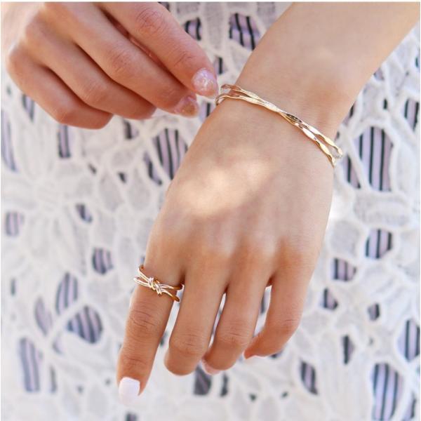 ブレスレット バングル レディース メタリッククロス アクセサリー メタル 小物 雑貨 腕輪 ギフト 贈り物 ジュエリー C型 デコボコ