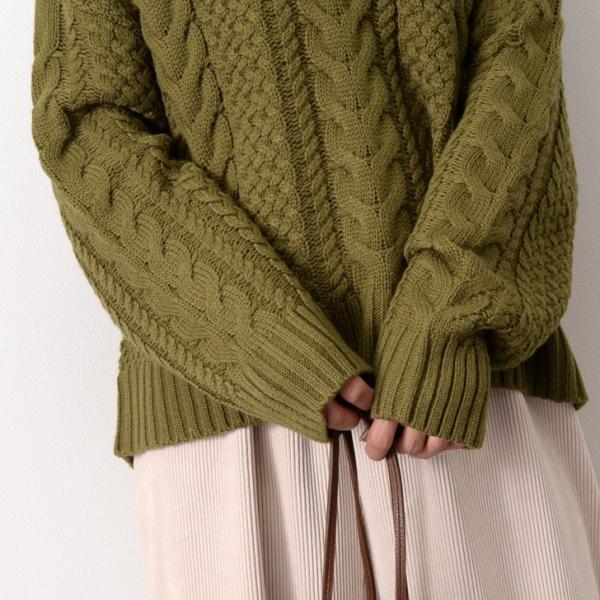 キーネックケーブル編みバルキーニット レディース トップス 長袖 ゆるニット ざっくり セーター|ruckruck|07
