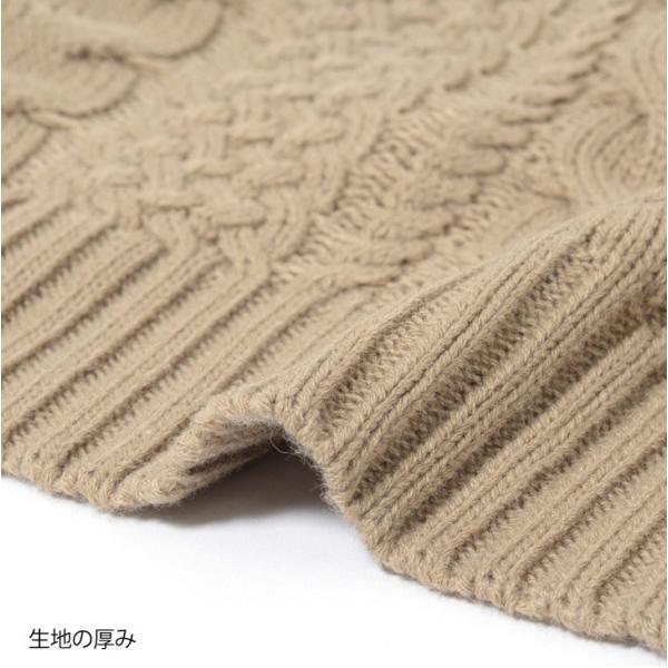 キーネックケーブル編みバルキーニット レディース トップス 長袖 ゆるニット ざっくり セーター|ruckruck|09
