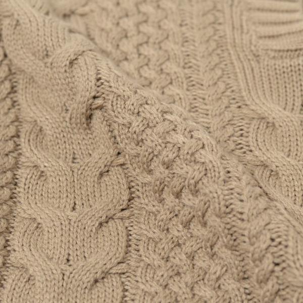 キーネックケーブル編みバルキーニット レディース トップス 長袖 ゆるニット ざっくり セーター|ruckruck|10