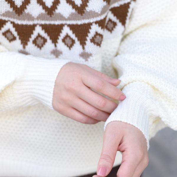 ノルディック柄バルーンスリーブワッフルニット レディース トップス セーター ワッフル編み テールカット ゆったり 大きめ 2001m|ruckruck|07