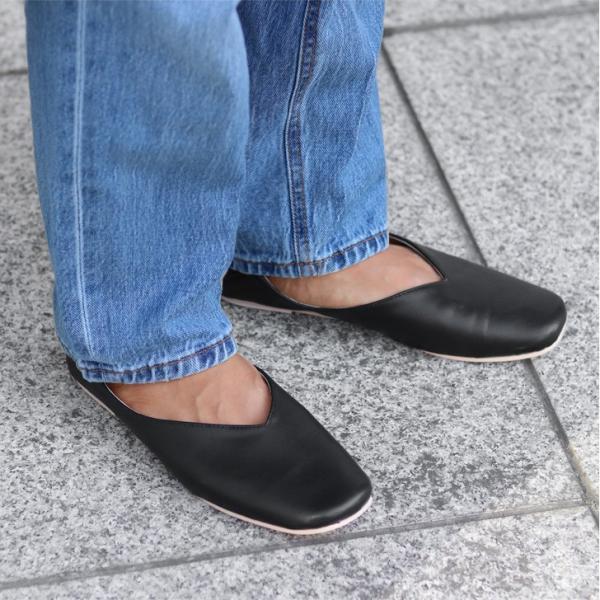 パンプス 痛くない ぺたんこ バブーシュ レディース フラットシューズ 靴 スクエアトゥ スウェード フェイクレザー 1912ss|ruckruck|05