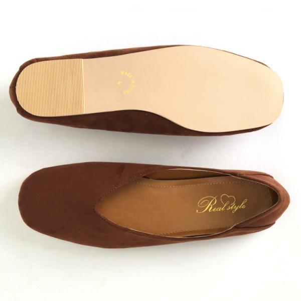 パンプス 痛くない ぺたんこ バブーシュ レディース フラットシューズ 靴 スクエアトゥ スウェード フェイクレザー 1912ss|ruckruck|10